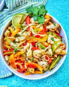 big bowl of Sheet Pan Chicken Fajitas