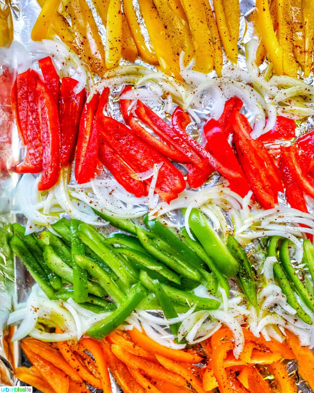 colorful bell peppers and onion slices