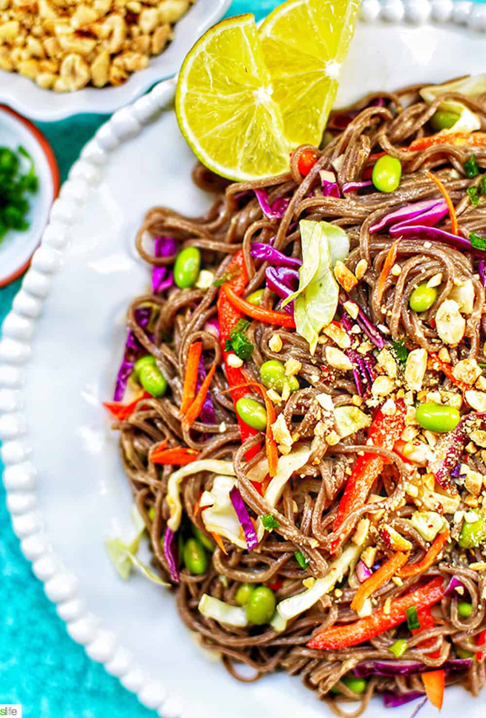 soba noodles with vegetables and peanut sauce