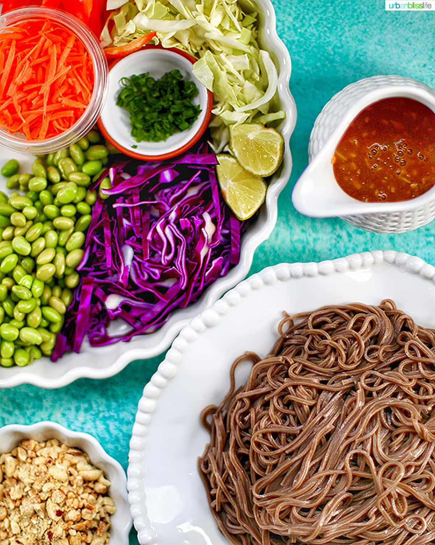 ingredients for soba noodle salad