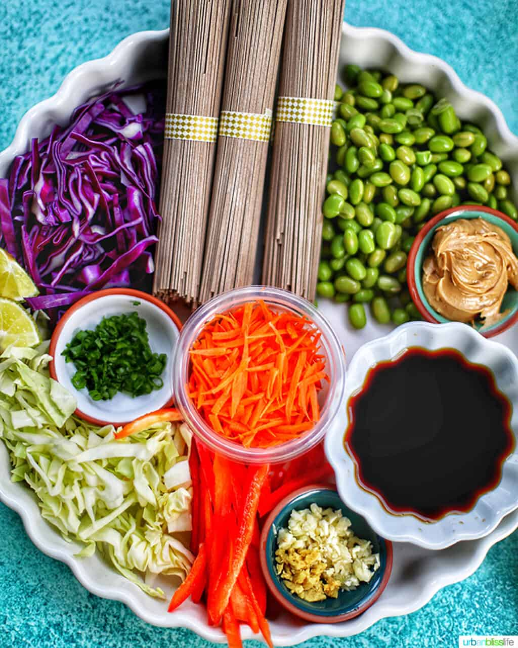 tray of ingredients for soba noodles