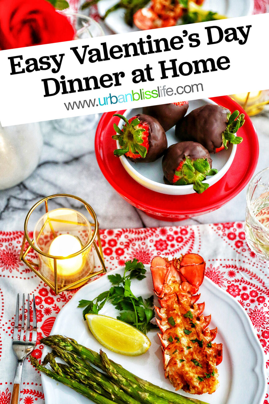 Valentine's Day dinner lobster chocolate covered strawberries roses candles wine with title text