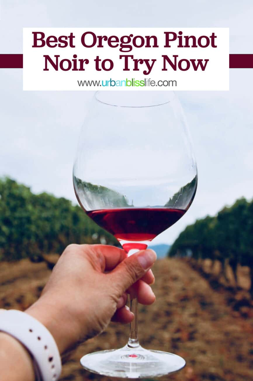 hand holding glass of Oregon pinot noir in a vineyard