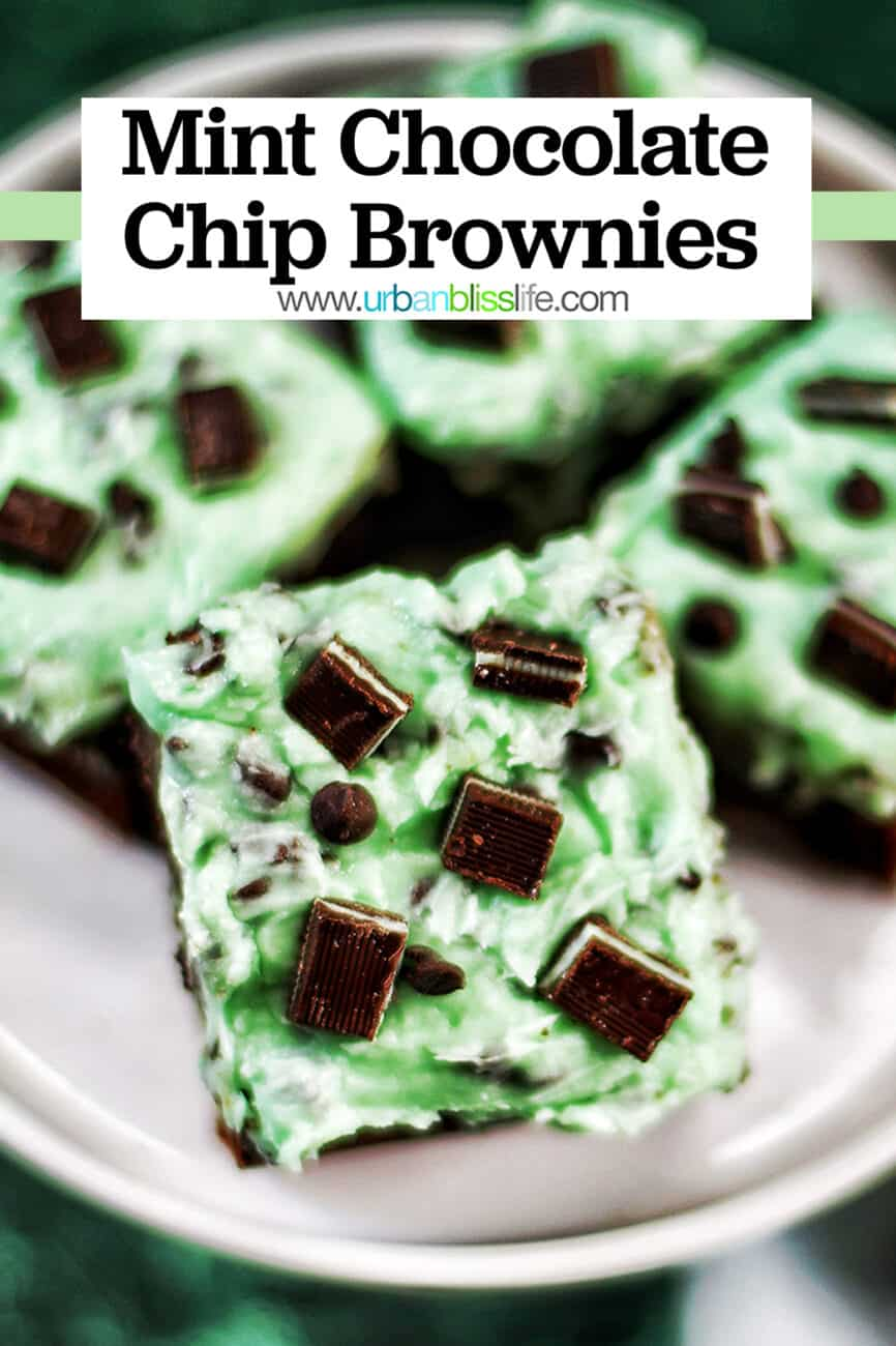 Mint Chocolate Brownies on a cake pedestal with title text