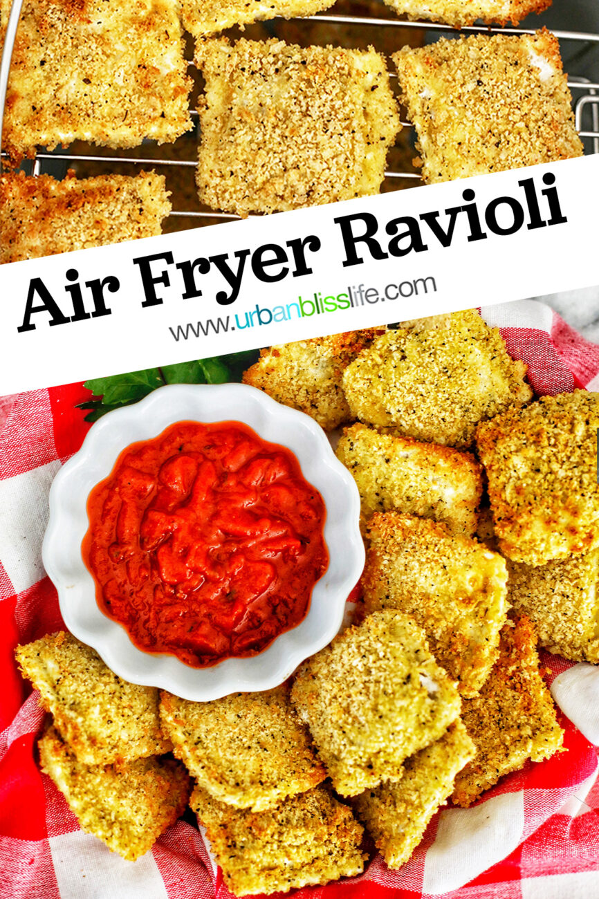 Air Fryer Ravioli with dipping sauce with text for Pinterest