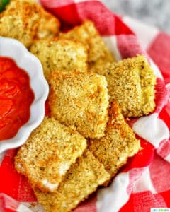 Air Fryer Ravioli with dipping sauce
