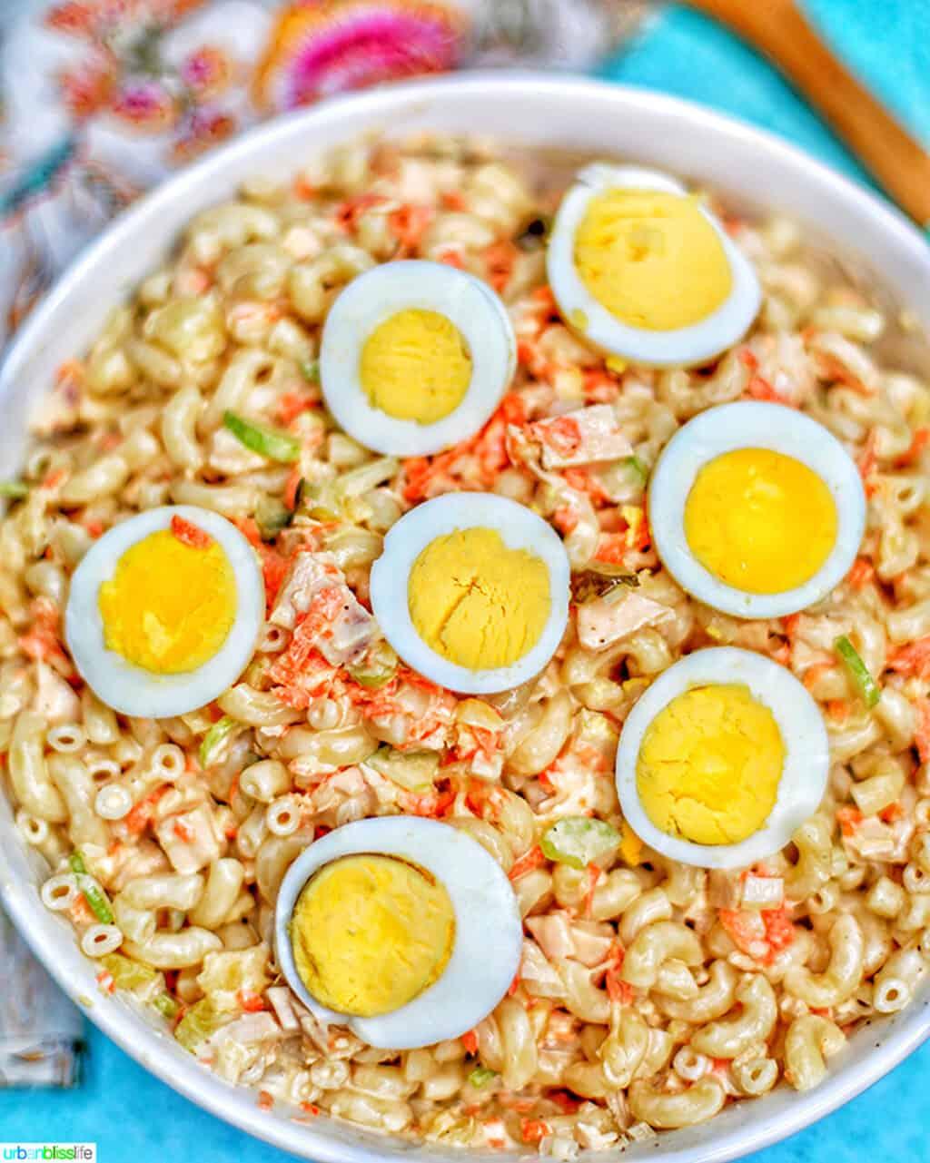 Filipino Macaroni Salad in a bowl