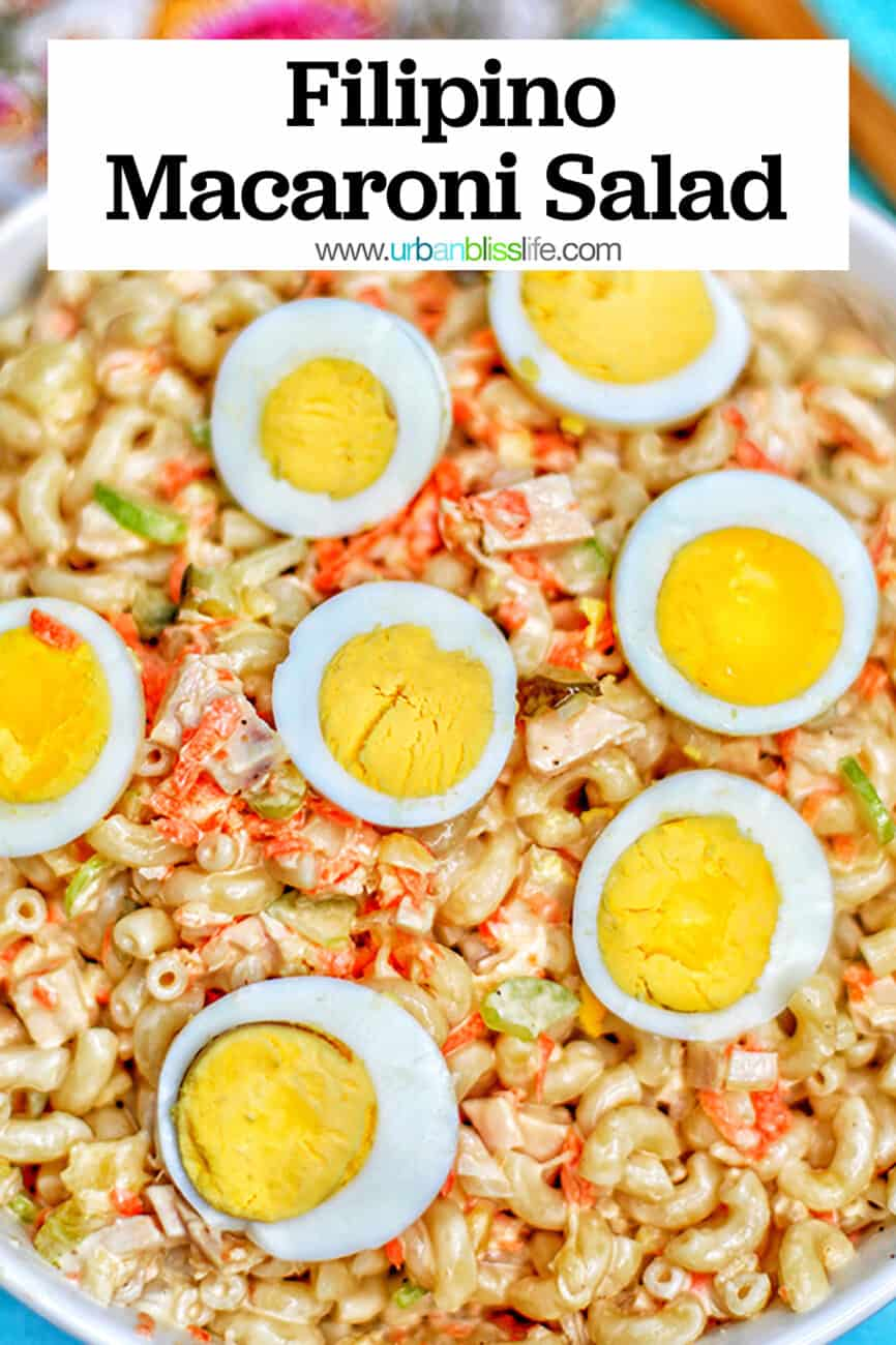 Filipino Macaroni Salad with text for Pinterest
