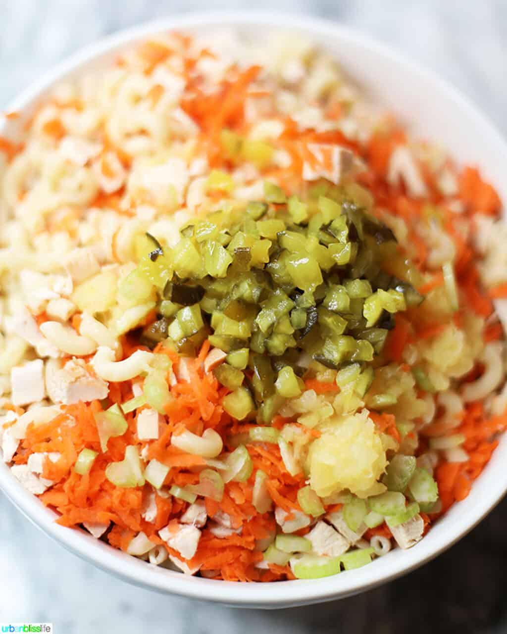 ingredients for Filipino Macaroni Salad mixing in bowl