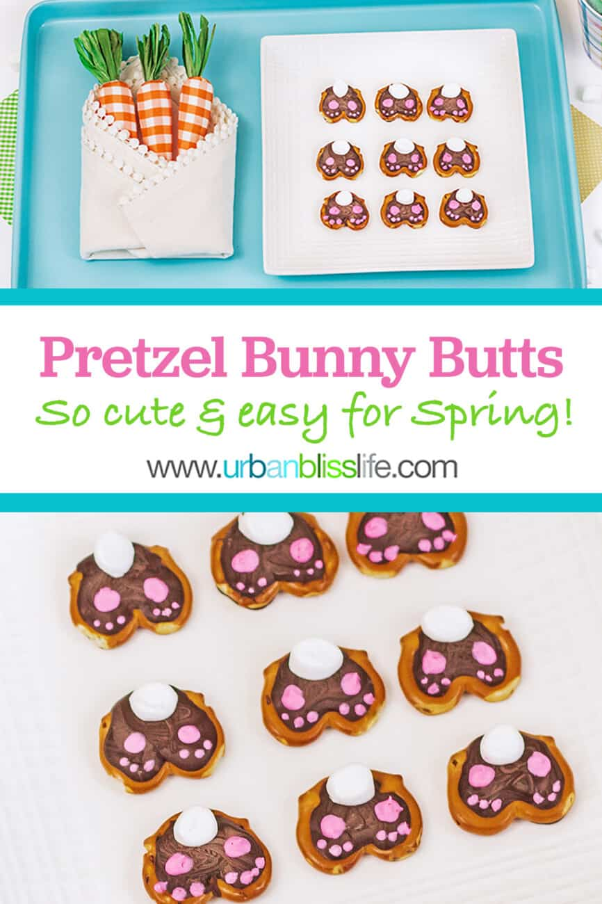 two pics of cute Easter bunny pretzels with text for pinterest
