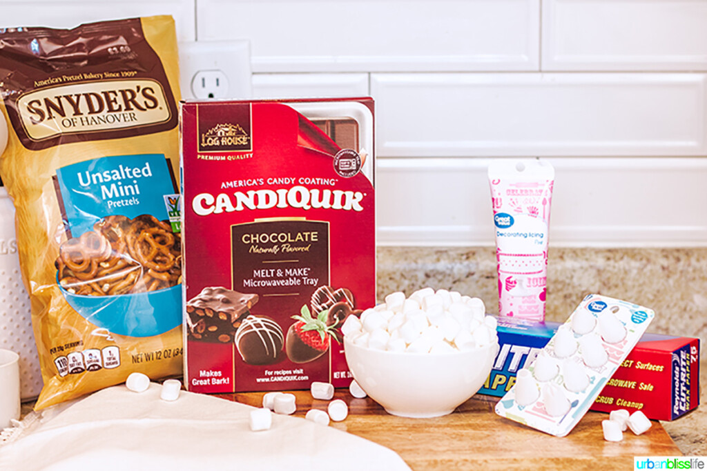 ingredients for cute Easter bunny pretzels
