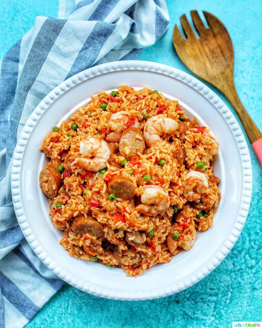 bowl of seafood jambalaya