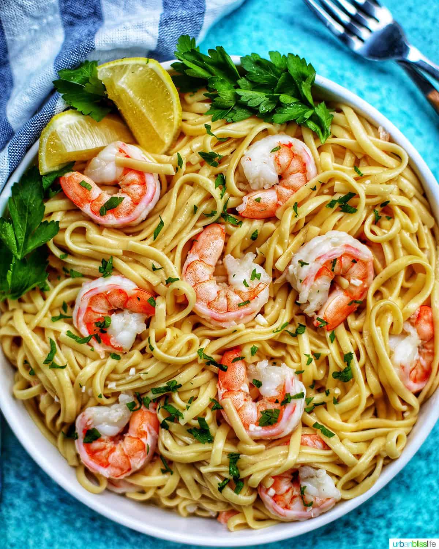 bowl of Shrimp Scampi Linguini