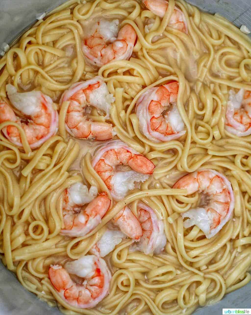 cooking Shrimp Scampi Linguini in the Ninja Foodi