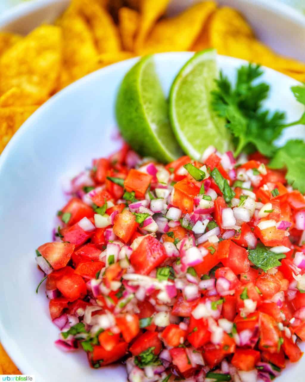 bowl of pico de gallo with tortilla chips