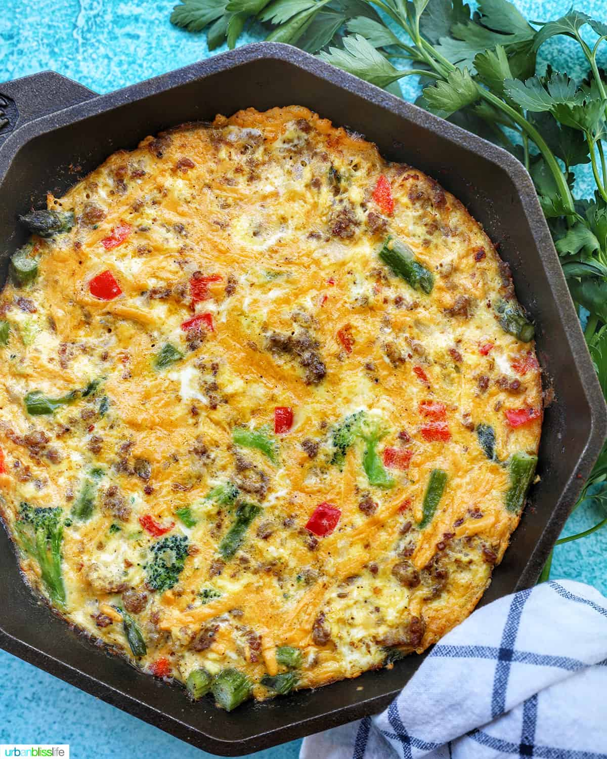 Sausage Frittata in skillet
