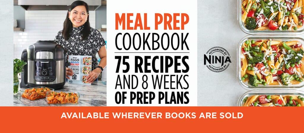 Marlynn Jayme Schotland with Ninja Foodi Cookbook, cover, and pasta primavera