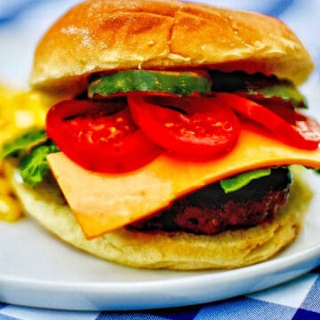 the ultimate burger with meat, cheese, tomatoes, pickls, bun, on a plate on checkered tablecloth