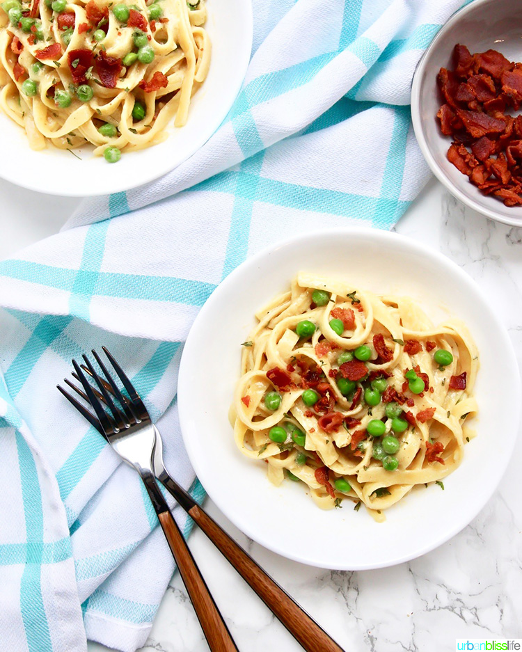 two bowls of Fettuccine with Bacon and Peas