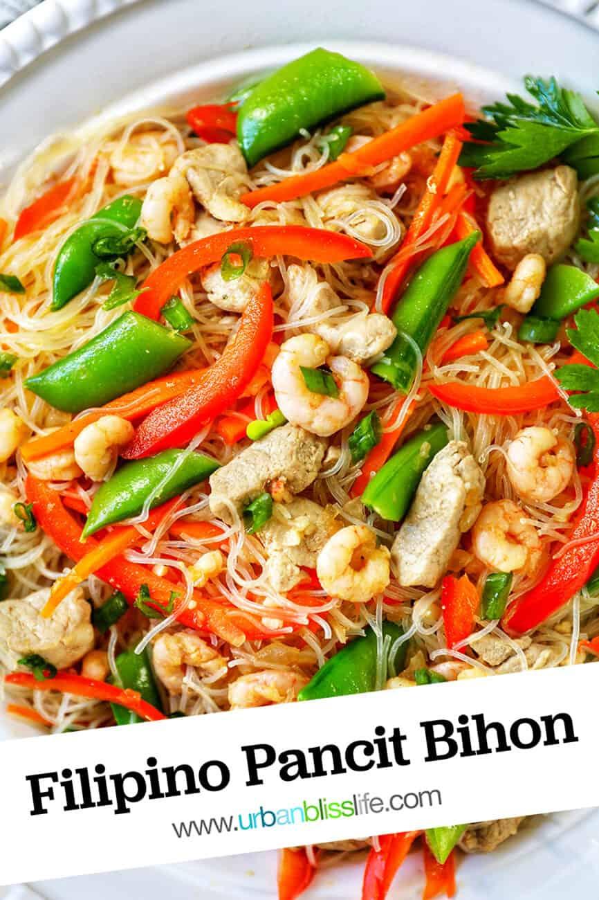 Filipino Pancit Bihon with text overlay