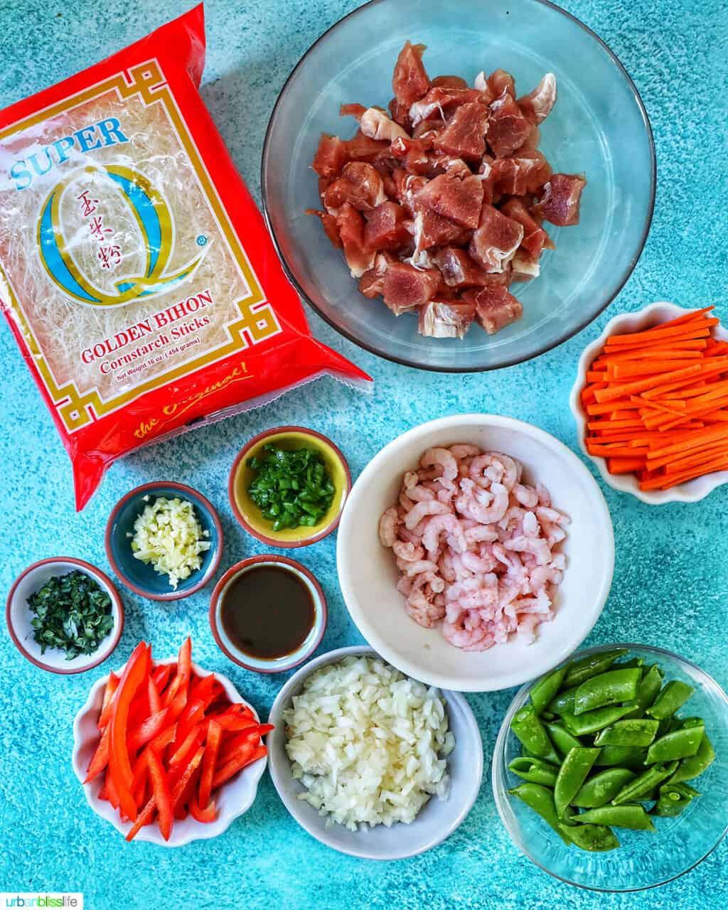 ingredients for Filipino Pancit Bihon